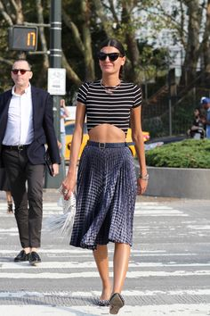 Gio outdoing even those gals who are #offduty. Could she be be any more amazing? #GiovannaBattaglia working the crop in NYC.