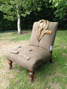 DAKS Harris Tweed Pony Club jacket wrapped antique slipper chair. This is the coolest thing ever!