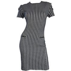 Pre-owned 1990s Black And White Gingham Bodycon 90s Checkered Sexy... ($575) ❤ liked on Polyvore featuring dresses, white, evening dresses, sexy white dresses, sexy bodycon dresses, vintage dresses and white cocktail dresses