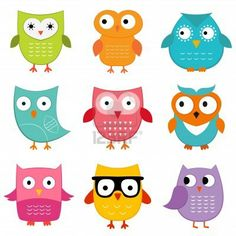 Cute owls set Stock Photo