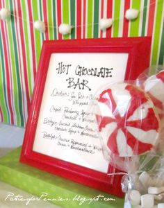 Hot Chocolate Bar - drink mixes for labeled with the name of a reindeer