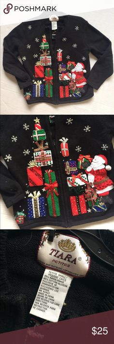 """Santa clause ugly Christmas sweater! Such a fun ugly sweater Christmas sweater! Santa clause holding presents and cute snowflakes throughout! Bust is 19"""" length is 22"""" Tiara Sweaters Cardigans"""