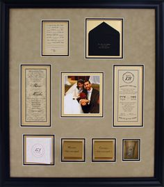 Wedding collages preserve mementos and memories! Photo, invitations, place cards and shot glass framed with gold, black, and suede mat boards in a classic black frame.   Get your own at Art & Frame Express in Edison, NJ!