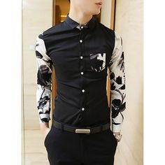 $18.52 Fashion Slimming Shirt Collar Landscape Painting Splicing Long Sleeve Men's Polyester Shirt