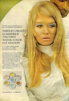 1960s Yardley of London ad for Glimmericks eye shadow / paint! Loved this product. We'd paint little flowers high on our cheeks near our eyes. And sometimes on our hands or toes.... Fun time to be alive.