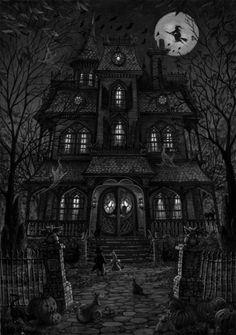 On Halloween night. Image Halloween, Halloween Pictures, Halloween Horror, Halloween Night, Halloween Art, Halloween Themes, Happy Halloween, Halloween Backgrounds, Halloween Wallpaper