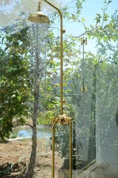 Beautiful glass house shower features Waterworks un-lacquered brass exposed shower fixture with view to backyard.