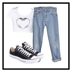 Untitled #362 by lock-and-key21 on Polyvore featuring polyvore, fashion, style, Levi's and Converse