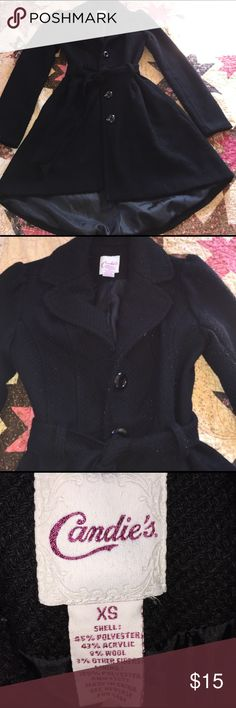 Candies black hi lo coat Wow this coat is amazing! It's a little too small for me now, so selling to that special person. Has some piling, needs one of those piling removal things! After that this coat will be in amazing condition!!! Candie's Jackets & Coats Pea Coats