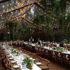 Clear tent and string light dining wedding reception set up. I'd like to pho… Clear tent and string light dining wedding reception set up. I'd like to photograph more of these types of weddings! Wedding Goals, Our Wedding, Wedding Planning, Dream Wedding, Forest Wedding Reception, Magical Wedding, Wedding Ceremony, Woodland Wedding, Wedding In Forest