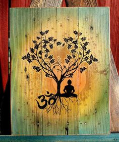 Bodhi Tree Om Pallet Art Upcycled Pallet Art by CryptobioticDesigns on Etsy Art Buddha, Buddha Kunst, Buddha Logo, Simbolos Tattoo, Yoga Kunst, Yoga Tattoos, Tatoos, Palette Art, Buddha Tattoos