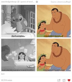 "Lilo was so passionate about Pudge the fish's happiness and well being because he supposedly ""controls the weather"". Her parents died because of bad weather, and she never wants that to happen again to Nani or herself. (I'm a Disney nerd ) Disney Memes, Disney Quotes, Disney Facts, Arte Disney, Disney Magic, Disney And Dreamworks, Disney Pixar, Disney Channel, Dc Animated Series"