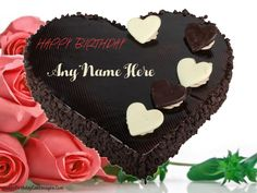 Happy Birthday Chocolate Cake For Friend In Heart Shape Hd Writing