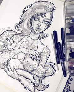 #tb because I'm a fan of the two headed cat and hollow eyes ✨ #graphicartery #artshare #artwork #myart #sketch #draw #artsy #arte #art #instaart #artnerd2016 #artist #illustration #artistsoninstagram #artcollective2016 #artfido #im_gallery #art_spotlight #art_motive #worldofpencils #juxtapoz #worldofartists #spotlightonartists #instartspics #cats #tattoos #ink