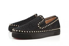 74a9d879de32 French shoe designer Christian Louboutin presents the Pik Boat studded  slip-on sneaker for Summer 2013 in a new python leather version.