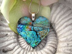 Dichroic Heart  Dichroic Glass Pendant  Fused Glass by ccvalenzo, $26.00