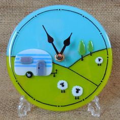 Handmade fused glass caravan clock