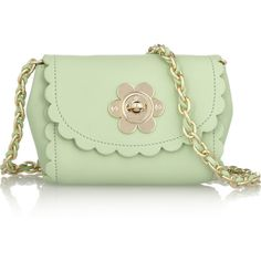 Mulberry Flower Mini leather shoulder bag ($402) ❤ liked on Polyvore featuring bags, handbags, shoulder bags, purses, bolsas, accessories, handbags shoulder bags, hand bags, green leather purse and leather man bag