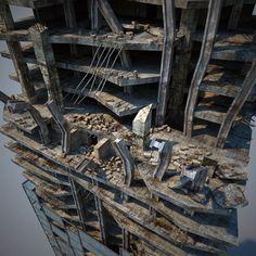 destroyed skyscraper max - Destroyed Skyscraper... by 3d_molier