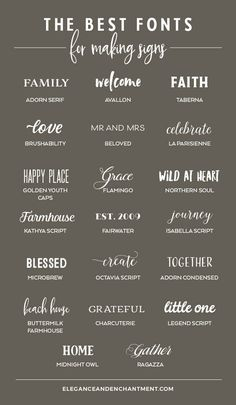 The Best Fonts for Making Signs - Elegance & Enchantment - Searching for the perfect font to use on your next hand lettered sign? Here's a roundup of twenty -