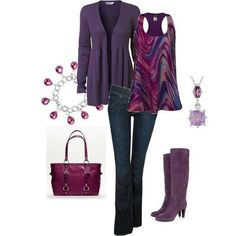 I love the colors in this outfit but would probably opt for a skinny jean instead so I could show off the purple boots.