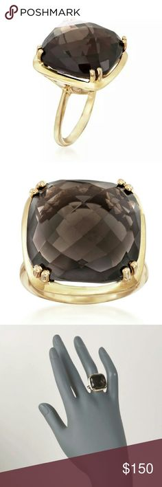 GORGEOUS 21 Carat Smoky Quartz Ring 14k Gold ... Wear the chocolate on your hand not your hips!!   Pair Your Louis Vuitton or FENDI Brown Monogram Bag with this YUMMY GENUINE Chocolate Brown 21 Carat Smoky Quartz and watch heads turn!. Set in 14k Yellow Gold over Sterling Silver Double Prong Corners. Ask all Questions Before Buying. Stamped.   See my brown FENDI Monogram hobo and wallet. Ring available in Size 7 which can also be sized to 6,  post a comment if interested. Jewelry Rings