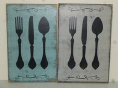 KNIFE FORK & SPOON / silverware plaque / silverware graphic / hand painted sign / big silverware sign / giant fork spoon / kitchen wall dec