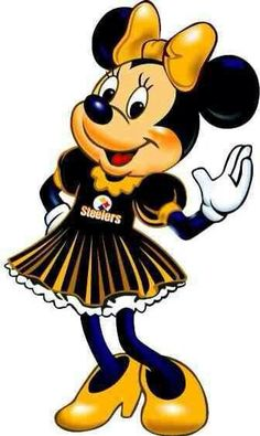 Minnie as a Steeler girl - pinning for Sadler :)