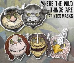 10 PRINTED Where the Wild Things Are Theme Birthday Party Mask Set