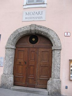 Mozart's residence front door.  Salzburg, Austria. It was incredible to know I was standing  where Mozart once stood!