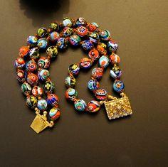 Vintage ART DECO 1930-1940s Murano MILLEFIORE Glass Bead ~ Unique Three Strand Bracelet /275
