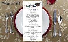 Wedding Menu, Table Decorations, Tableware, Floral, Jars, Dinnerware, Wedding Dinner Menu, Dishes, Flowers