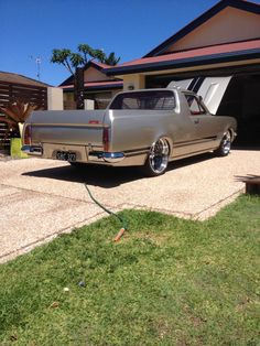 This ute is the same model; different colour, to my brother-in-law's. Only his is not 'slammed'. Australian Muscle Cars, Aussie Muscle Cars, Classic Trucks, Classic Cars, Hq Holden, Holden Muscle Cars, Holden Australia, Holden Monaro, Chevrolet Trucks
