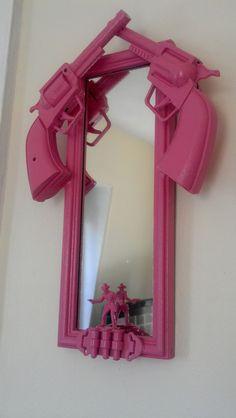 pink cowboy gun mirror by CheeseCrafty on Etsy, $24.00