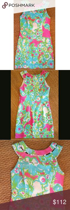 5bd9f014a25058 LILLY PULITZER PRINT SHIFT DRESS SIZE 0 Brand New Condition! LILLY PULITZER  COTTON SLEEVELESS SHIFT