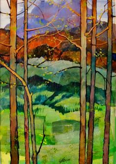SPRING IN THE ROCKIES 12050, acrylic landscape tree collage Carol Nelson Fine Art, painting by artist Carol Nelson