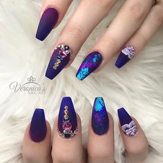 Purple and blue gradient, foil/Colored chrome, and rhinestone accent on a ballerina nail.
