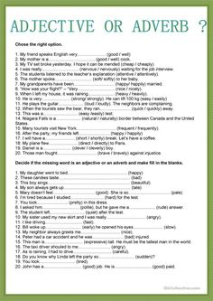 Adjective or Adverb worksheet - Free ESL printable worksheets made by teachers English Grammar Exercises, English Grammar Rules, Teaching English Grammar, English Grammar Worksheets, English Phrases, Grammar Lessons, English Language Learning, English Writing Skills, English Lessons