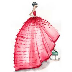 Red Couture Gown Watercolor Fashion Illustration Art Print featuring polyvore home home decor wall art watercolor fashion illustration red home accessories red home decor red wall art watercolor wall art