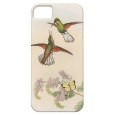 iPhone 5 Case - Vintage Hummingbirds  This is a very sweet and colourful vintage illustration of a pair of red, green and white hummingbirds interacting together over a lovely pink flowering shrub. A yellow and black butterfly completes this lovely scene.