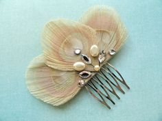 ISABEL Ivory Peacock Feather with Gold and Crystal by Lucyohlucy, $20.00