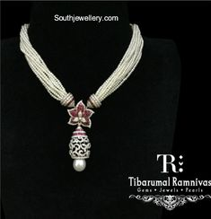 Short Pearl Necklace With Diamond Pendant photo