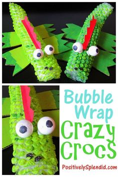 Crazy bubble wrap and ping pong balls for the eyes