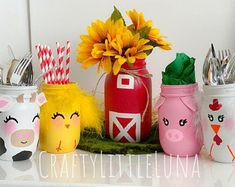 Excited to share this item from my shop: Old MacDonald barn and farm animal themed mason jar set, includes 1 quart and 4 pint animal jars, birthday party centerpiece, nursery decor Cow Birthday, Farm Animal Birthday, Boy Birthday Parties, Birthday Ideas, Animal Themed Birthday Party, 2nd Birthday Party Themes, Birthday Cakes, Farm Animal Party, Barnyard Party