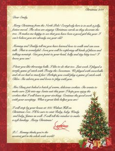 Personalized Letter From Santa To Your Child Or Grandchild These