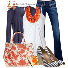 Orange and Navy by sophie-01 on Polyvore