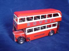 Tri-Ang Minic London RED Transport Double Decker Bus BOVRIL WINDUP TIN