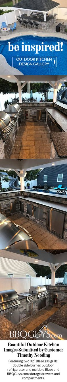 This beautiful outdoor kitchen Features two 32 Blaze gas grills double side burner outdoor refrigerator and multiple Blaze and BBQ Guys storage drawers and compartments S. Backyard Kitchen, Outdoor Kitchen Design, Rustic Backyard, Backyard Patio Designs, Backyard Landscaping, Landscaping Ideas, Outdoor Rooms, Outdoor Living, Outdoor Kitchens