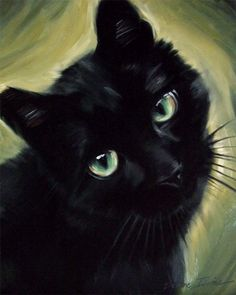 Adored Black Cat Lucky Original Oil Painting by Diane Irvine Armitage