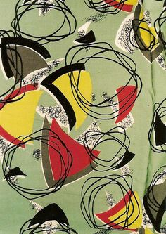 50's barkcloth - mint green background with abstract forms